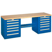 Modular Drawer Bench - 8' -Two Modular Cabinets, Blue