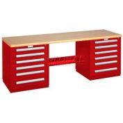 Modular Drawer Bench - 8' -Two Modular Cabinets, Red
