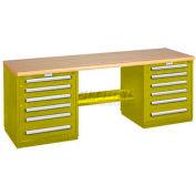 Modular Drawer Bench - 8' -Two Modular Cabinets, Yellow