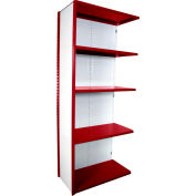 "Equipto VG-20 Gauge Closed Shelf Add On Unit - 36""W X 18""D X 84""H w/ 5 Shelves, Textured Cherry Red"