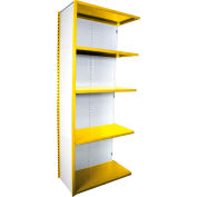 "Equipto VG-20 Gauge Closed Shelf Add On Unit - 36""W X 18""D X 84""H w/ 5 Shelves, Bright Yellow"