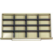 "Equipto Modular Drawer Divider Set For Drawer 36"" W X 18"" D X 6"" H- 16 Compartments, Office Gray"