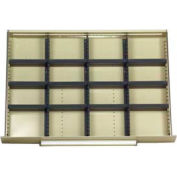 """Equipto Modular Drawer Divider Set For Drawer 36"""" W X 24"""" D X 45"""" H - 16 Compartments, Office Gray"""