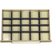 """Equipto Modular Drawer Divider Set For Drawer 36"""" W X 24 """" D X 6 """" H - 20 Compartments, Office Gray"""