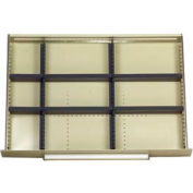 """Equipto Modular Drawer Divider Set For Drawer 36"""" W X 24"""" D X 6"""" H - 9 Compartments, Office Gray"""