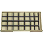 """Equipto Modular Drawer Divider Set For Drawer 48"""" W X 24"""" D X 6 """" H - 28 Compartments, Office Gray"""