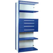 """Equipto Vg Closed Shelf Add On Unit 36"""" W X 24"""" D X 84"""" H W/ 5 Shelves and 4 Drawers,  Regal Blue"""