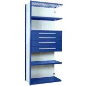 "Equipto Vg Closed Shelf Starter Unit 36"" W X 24"" D X 84"" H W/ 5 Shelves & 4 Drawers, Regal Blue"