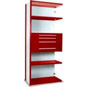 "Equipto Vg Closed Shelf Add On Unit - 36"" W X 24"" D X 84"" H,5 Shelves & 4 Drawers , Cherry Red"