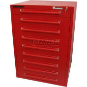 "Equipto 30""W Modular Cabinet 9 Drawers w/Dividers, 44""H & Lock-Textured Cherry Red"