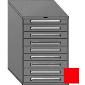 """Equipto 30""""W Modular Cabinet 9 Drawers w/Dividers, 44""""H, No Lock-Textured Cherry Red"""