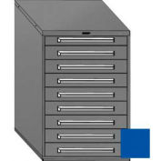 "Equipto 30""W Modular Cabinet 9 Drawers No Divider, 44""H & Lock-Textured Regal Blue"