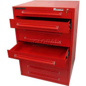 "Equipto 30""W Modular Cabinet 9 Drawers No Divider, 44""H, Keyed Alike Lock-Textured Cherry Red"