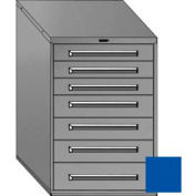 "Equipto 30""Wx44""H Modular Cabinet 7 Drawers w/Dividers, & Lock-Textured Regal Blue"
