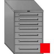 "Equipto 30""Wx44""H Modular Cabinet 7 Drawers w/Dividers, Keyed Alike Lock-Textured Cherry Red"