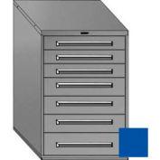 "Equipto 30""Wx44""H Modular Cabinet 7 Drawers No Divider, & Lock-Textured Regal Blue"