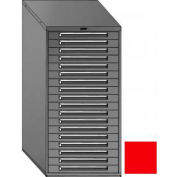 """Equipto 30""""W Modular Cabinet 18 Drawers w/Dividers, 59""""H, Keyed Alike Lock-Textured Cherry Red"""