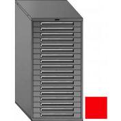 "Equipto 30""W Modular Cabinet 18 Drawers No Divider, 59""H, Keyed Alike Lock-Textured Cherry Red"