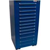 """Equipto 30""""W Modular Cabinet 13 Drawers w/Dividers, 59""""H & Lock-Textured Regal Blue"""