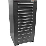 "Equipto 30""W Modular Cabinet 13 Drawers w/Dividers, 59""H & Lock-Smooth Office Gray"