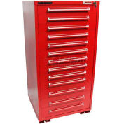 "Equipto 30""W Modular Cabinet 13 Drawers w/Dividers, 59""H & Lock-Textured Cherry Red"