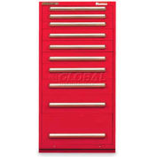 "Equipto 30""W Modular Cabinet 10 Drawers w/Dividers, 59""H & Lock-Textured Cherry Red"