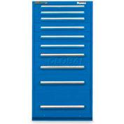 "Equipto 30""W Modular Cabinet 10 Drawers w/Dividers, 59""H, Keyed Alike Lock-Textured Regal Blue"
