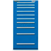 "Equipto 30""W Modular Cabinet 10 Drawers No Divider, 59""H, Keyed Alike Lock-Textured Regal Blue"