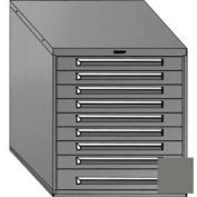 "Equipto 30""W Modular Cabinet 33-1/2""H, 9 Drawers No Divider, Keyed Alike Lock-Smooth Office Gray"