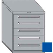 "Equipto 30""W Modular Cabinet 5 Drawers w/Dividers, 38""H & Lock-Textured Regal Blue"