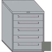 """Equipto 30""""W Modular Cabinet 5 Drawers w/Dividers, 38""""H & Lock-Smooth Office Gray"""