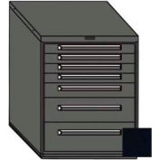 "Equipto 30""W Modular Cabinet 7 Drawers w/Dividers, 38""H & Lock-Textured Black"