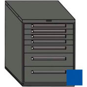 """Equipto 30""""W Modular Cabinet 7 Drawers w/Dividers, 38""""H & Lock-Textured Regal Blue"""