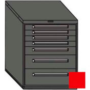 """Equipto 30""""W Modular Cabinet 7 Drawers w/Dividers, 38""""H & Lock-Textured Cherry Red"""