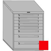"Equipto 30""W Modular Cabinet 8 Drawers w/Dividers, 38""H, Keyed Alike Lock-Textured Cherry Red"