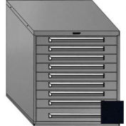 "Equipto 30""W Modular Cabinet 33-1/2""H, 9 Drawers w/Dividers, Keyed Alike Lock-Textured Black"
