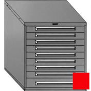 "Equipto 30""W Modular Cabinet 33-1/2""H, 9 Drawers w/Dividers, Keyed Alike Lock-Textured Cherry Red"