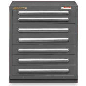 """Equipto 30""""Wx33-1/2""""H Modular Cabinet 7 Drawers w/Dividers, & Lock-Smooth Office Gray"""