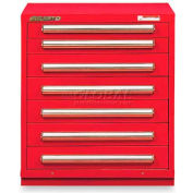 """Equipto 30""""Wx33-1/2""""H Modular Cabinet 7 Drawers w/Dividers, Keyed Alike Lock-Textured Cherry Red"""