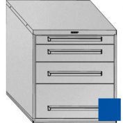 "Equipto 30""W Modular Cabinet 4 Drawers w/Dividers, 33-1/2""H, Keyed Alike Lock-Textured Regal Blue"