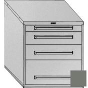 "Equipto 30""W Modular Cabinet 4 Drawers w/Dividers, 33-1/2""H, No Lock-Smooth Office Gray"