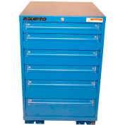 """Equipto 30""""W Modular Cabinet 33-1/2""""H, 6 Drawers w/Dividers, & Lock-Textured Regal Blue"""