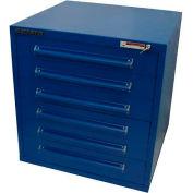 "Equipto 30""W Modular Cabinet 6 Drawers No Divider, 33-1/2""H, Keyed Alike Lock-Textured Regal Blue"