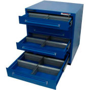 """Equipto 30""""Wx33-1/2""""H Modular Cabinet 6 Drawers w/Dividers, & Lock-Textured Regal Blue"""