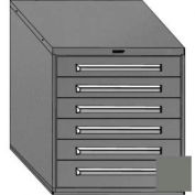 "Equipto 30""Wx33-1/2""H Modular Cabinet 6 Drawers w/Dividers, Keyed Alike Lock-Smooth Office Gray"
