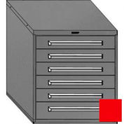 "Equipto 30""Wx33-1/2""H Modular Cabinet 6 Drawers w/Dividers, Keyed Alike Lock-Textured Cherry Red"