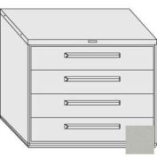 "Equipto 45""W Modular Cabinet 38""H 4 Drawers No Divider, & Lock-Textured Dove Gray"
