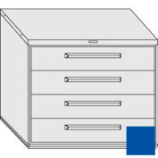 "Equipto 45""W Modular Cabinet 38""H 4 Drawers No Divider, Keyed Alike Lock-Textured Regal Blue"