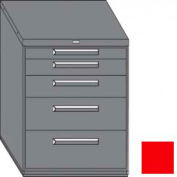 "Equipto 45""W Modular Cabinet 38""H 5 Drawers w/Dividers, & Lock-Textured Cherry Red"
