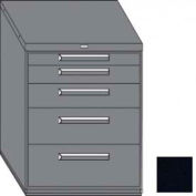 "Equipto 45""W Modular Cabinet 38""H 5 Drawers w/Dividers, Keyed Alike Lock-Textured Black"